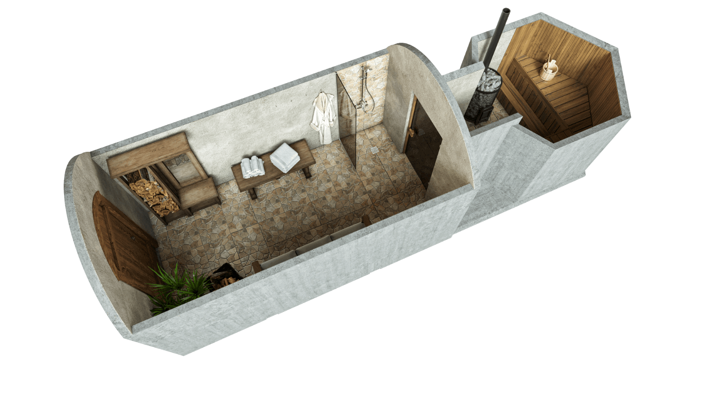 Saun 14,2 m² STANDARDPAKETT