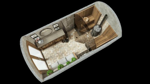 Saun 9,7 m² STANDARD (klaaslahendus)